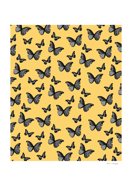 Black Yellow Butterfly Glam #1 #pattern #decor #art