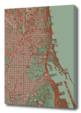 Barcelona city map pop