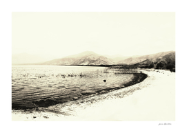 Minimal monochrome lake shore