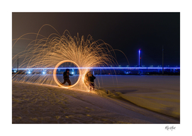 Fighting with fire background Champlain bridge