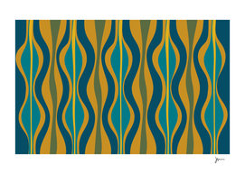 Morocco Abstract Retro Pattern in Teal and Mustard