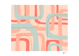 Loops and Dots Midcentury Modern Pattern in Blush & Aqua
