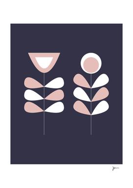 Scandi Garden Midcentury Modern Flower Pair in Blue and Pink