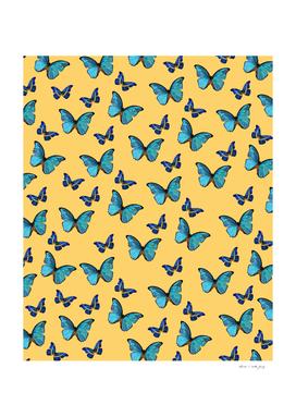 Blue Yellow Butterfly Glam #1 #pattern #decor #art