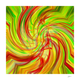 Triple Helix - red green yellow abstract circle wall art
