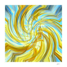 Golden Mean - gold light blue circle abstract wall art
