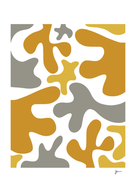 Cheerful Blobs Cutout Abstract in Mustard and Gray