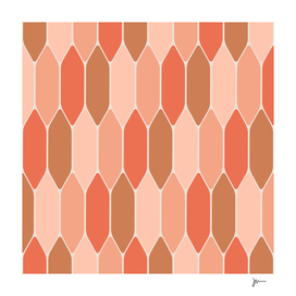 Stained Glass Honeycomb in Coral Blush Pink