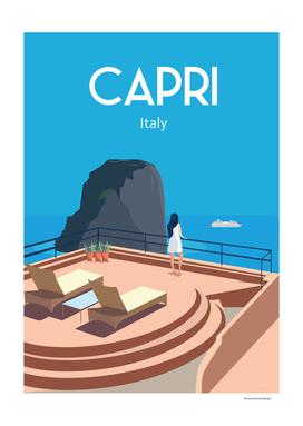 Capri Italy travel poster Blue sea