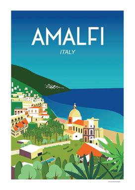 Amalfi Italy travel poster vintage wall art