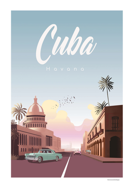 Havana Cuba | Vintage Travel Poster |