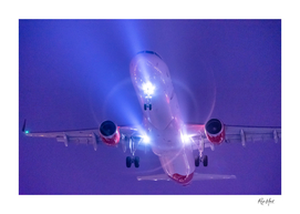 Close up plane at night