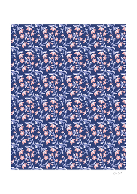Blue and Pink Floral Pattern Spring Blossoms