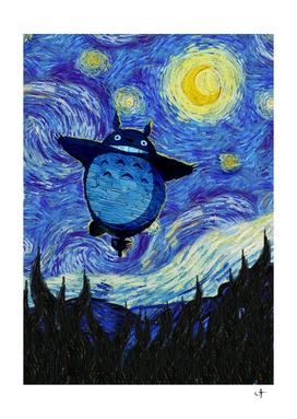 Totoro flying in Starry Night