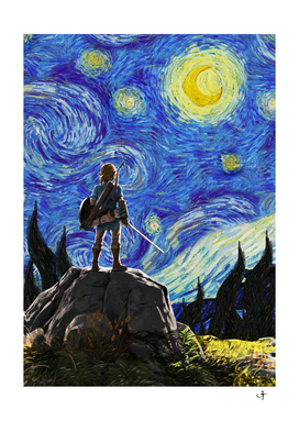 Link at the starry night