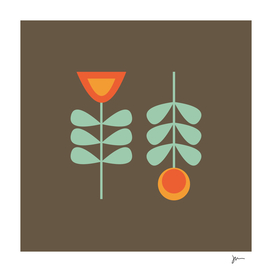 Retro Scandi Flower Pair in Celadon and Orange on Brown