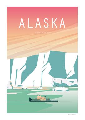 Alaska Glacier vintage travel poster Landscape