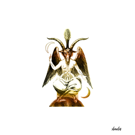 Golden Baphomet Goat with Satanic symbols
