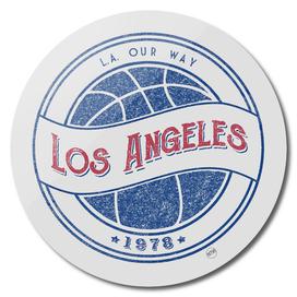 Los Angeles basketball vintage logo white
