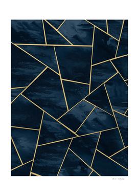 Dark Midnight Navy Blue Gold Geometric Glam #1 #geo #decor