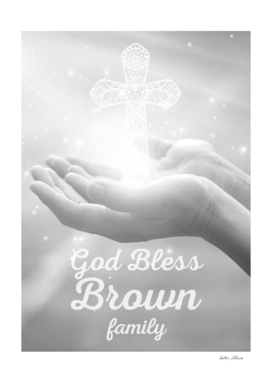 God Bless Brown Family Cross