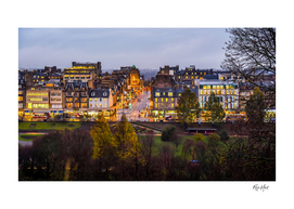 Night city view from Edinburgh  Castle Scotland