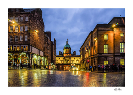 Illuminated buildings at night in Edinburgh Scotland