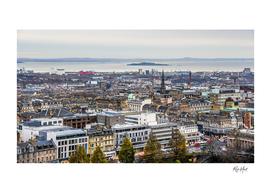High angle view of the city Edinburgh Scotland