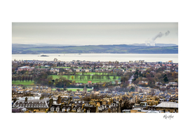 High angle view of townscape by the city of Edinburgh