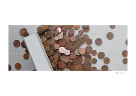 Euro cents in copper in the purse for purchases - poverty
