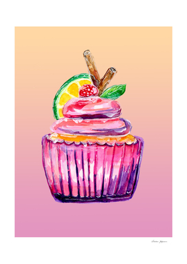 Purple Cupcake Deluxe with Ice Cream Topping
