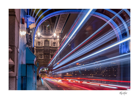 Light trails along Tower Bridge London