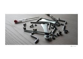 Hardware, keys, allen keys, bolts for crafts