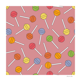 Happy Lollipops Sugar Candy Red Background
