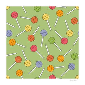 Happy Lollipops Sugar Candy Green Background