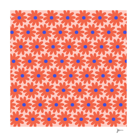 Crayon Flowers Cheerful Floral Pattern