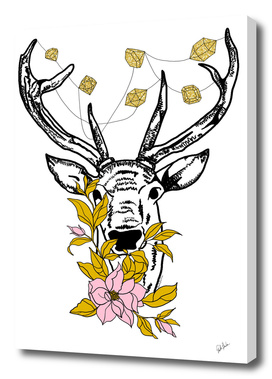 Deer with crystals and flowers
