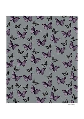 Gray Lavender & Black Butterfly Glam #1 #pattern #decor #art