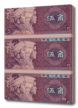 5 yuan chinese banknote collage