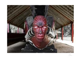 Maori warrior carving