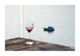 Boat and wine