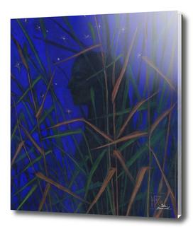 Night Goddess, Fantasy Art, Woman Silhouette, Dark Blue