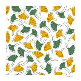 Ginkgo Biloba leaves pattern offset - Green and Yellow