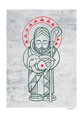 Jesus Christ Good Shepherd illustration