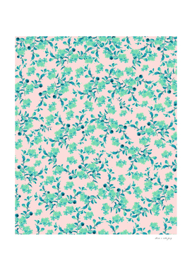 Turquoise Blush Mint Flower Pattern #1 #spring #floral