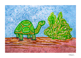 Turtle and Letttuce Colored Illustration