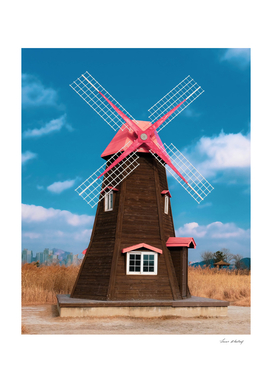 brown and pink windmill