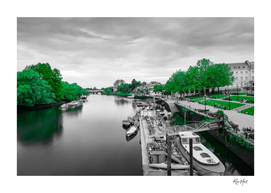 Black and white view of river against greens