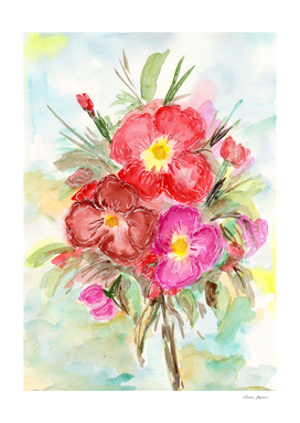Spring Flower Bouquet Watercolor