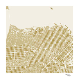 San Francisco city map gold